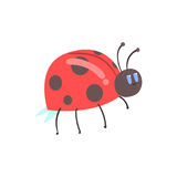 Cute cartoon red ladybug character vector Illustration Royalty Free Stock Image