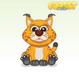 Cute Cartoon Red Lynx. Funny Vector Animal Royalty Free Stock Image