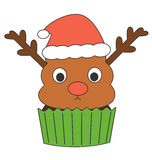 Cute cartoon reindeer cupcake with santa claus hat holidays funny illustration Royalty Free Stock Images
