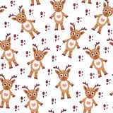 Cute cartoon reindeer seamless texture. Children's background fabric. Vector illustration Stock Image