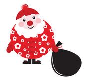 Cute cartoon retro floral Santa with big bag. Stock Images