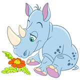 Cute cartoon rhino and daisy flower Stock Image