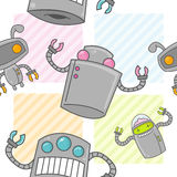 Cute Cartoon Robot Seamless Pattern Royalty Free Stock Photography