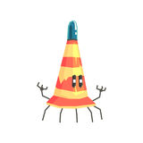 Cute cartoon robot traffic cone character vector Illustration. On a white background Stock Image