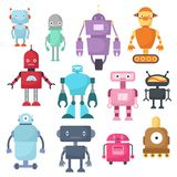 Cute cartoon robots, android and spaceman cyborg isolated vector set. Robot characters illustration Stock Images