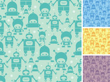 Cute cartoon robots seamless pattern background Stock Photography