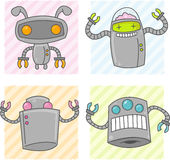 Cute Cartoon Robots. Some happy cute vector robots with claw arms Stock Photography