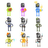 Cute cartoon robots in various professions with professional equipment set of colorful characters vector Illustrations Stock Images