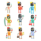 Cute cartoon robots in various professions set of colorful characters vector Illustrations. Isolated on white background Stock Image