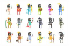 Cute cartoon robots in various professions set of colorful characters vector Illustrations royalty free illustration