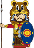 Cute Cartoon Roman Soldier. Wearing a Lions Pelt with Spear and Shield  Ancient Rome Historical Illustration - EPS file is also available Royalty Free Stock Photography