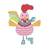 Cute cartoon rooster character illustration Stock Image
