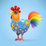Cute Cartoon Rooster. With a Decorative Ornament on his Body. Vector Illustration Royalty Free Stock Photo