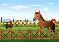 Cute cartoon rooster and horse in the farm royalty free illustration