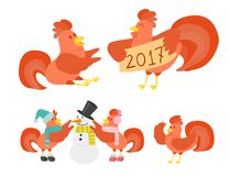 Cute cartoon rooster vector illustration chicken farm animal  Stock Photo