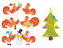 Cute cartoon rooster vector illustration chicken farm christmas animal agriculture domestic character Stock Images