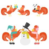Cute cartoon rooster vector illustration chicken farm animal agriculture domestic character Royalty Free Stock Images