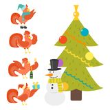 Cute cartoon rooster vector illustration chicken farm christmas animal agriculture domestic character Stock Image