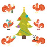 Cute cartoon rooster vector illustration chicken farm christmas animal agriculture domestic character Royalty Free Stock Photo
