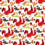 Cute cartoon rooster vector illustration chicken farm animal agriculture domestic character seamless pattern background Royalty Free Stock Photography