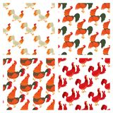 Cute cartoon rooster vector illustration chicken farm animal agriculture domestic character seamless pattern background Royalty Free Stock Photo