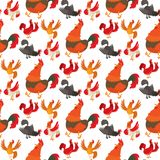 Cute cartoon rooster vector illustration chicken farm animal agriculture domestic character seamless pattern background. Cute cartoon rooster illustration Royalty Free Stock Image