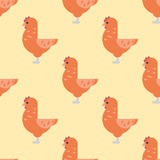 Cute cartoon rooster vector illustration chicken farm animal agriculture domestic character seamless pattern Stock Image
