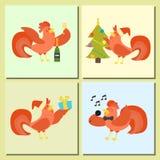 Cute cartoon rooster vector illustration chicken farm christmas animal  Royalty Free Stock Photos
