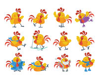Cute Cartoon Roosters Flat Vector Icon Set Royalty Free Stock Photography