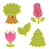 Cute cartoon rose, tulip, tree, oak set. Stock Images
