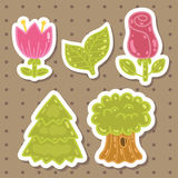 Cute cartoon rose, tulip, tree, oak set. Royalty Free Stock Photos
