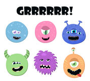 Cute cartoon round monsters set. Collection of monster face for any design, card, poster, invitation. Vector Stock Photography