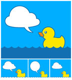 Cute cartoon rubber duck with cloud speech bubble Stock Photo