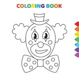 Cute cartoon sad clown head coloring book for kids. black and white vector illustration for coloring book. sad clown head concept