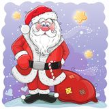Cute Cartoon Santa Claus with bag. On a stars background Royalty Free Stock Image