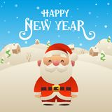 Cute cartoon Santa Claus character Happy New Year background. Cute cartoon Santa Claus character Merry Christmas and Happy New Year background vector stock illustration