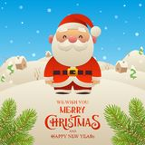 Cute cartoon Santa Claus character Merry Christmas and Happy New Year background. Vector royalty free illustration