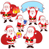 Cute cartoon Santa Claus collection Stock Photography