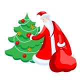 Cute cartoon Santa Claus decorating Christmas tree Merry Christmas vector illustration Vector Illustration