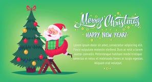 Cute cartoon Santa Claus decorating Christmas tree Merry Christmas vector illustration Greeting card poster horizontal Royalty Free Stock Images