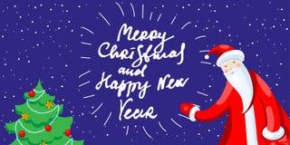 Cute cartoon Santa Claus decorating Christmas tree Merry Christmas vector illustration Royalty Free Illustration