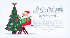 Cute cartoon Santa Claus decorating Christmas tree Merry Christmas vector illustration Greeting card poster horizontal Stock Photography