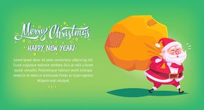 Cute cartoon Santa Claus delivering gifts in big bag Merry Christmas vector illustration Greeting card poster horizontal Stock Images
