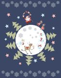 Cute cartoon Santa Claus juggling gifts, reindeer, snowman, polar bears, little raccoons and christmas trees on skates. Vector illustration. Round composition Royalty Free Stock Image