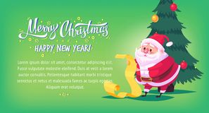 Cute cartoon Santa Claus reading gift list Merry Christmas vector illustration Greeting card poster horizontal banner. Royalty Free Stock Images