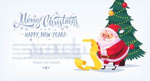 Cute cartoon Santa Claus reading gift list Merry Christmas vector illustration Greeting card poster horizontal banner. Royalty Free Stock Image
