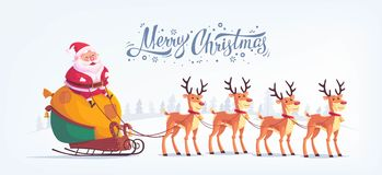 Cute cartoon Santa Claus riding reindeer sleigh Merry Christmas vector illustration Greeting card poster horizontal Stock Photography