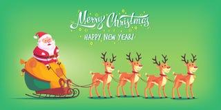 Cute cartoon Santa Claus riding reindeer sleigh Merry Christmas vector illustration Greeting card poster horizontal Royalty Free Stock Photo
