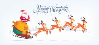 Cute cartoon Santa Claus riding reindeer sleigh Merry Christmas vector illustration Greeting card poster horizontal Stock Image