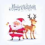 Cute cartoon Santa Claus ringing bell and funny reindeer Merry Christmas vector illustration Greeting card poster Stock Photography